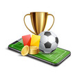 3d golden cup football card betting promo vector image vector image
