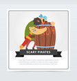 bearded pirate sleeping on a wooden barrel of rum vector image vector image
