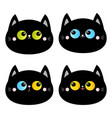 black cat head face set blue yellow green eyes vector image vector image