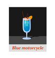 blue motorcycle cocktail menu item or any kind of vector image vector image
