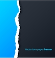 Blue torn paper with drop shadows on dark vector image