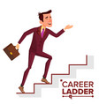 businessman climbing career ladder fast vector image