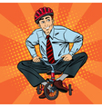 Businessman on Children Bicycle Fun at Work vector image vector image