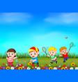 cartoon kids catching butterfly in the garden vector image vector image