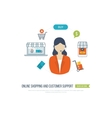 Concepts for customer support online shopping vector image vector image