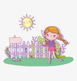 cute girl play and running with sun vector image