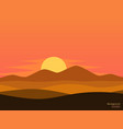 desert sunset landscape background vector image