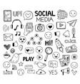 doodle social media icons drawing symbols vector image vector image
