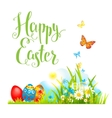 Easter grass and flowers vector image vector image