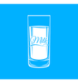 Glass of milk on a blue background vector image vector image