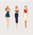 hand drawn fashion models concept vector image vector image