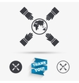 Hands reach for earth sign icon Save planet vector image vector image