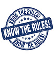 know the rules blue grunge round vintage rubber vector image vector image