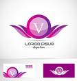 Letter V pink purple wings logo vector image vector image