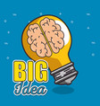 light bulb with brain inside big idea concept vector image