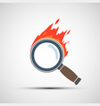 magnifier or loupe burns with flame vector image