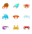 Marine life icons set cartoon style vector image vector image