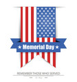 memorial day flag america isolated background vector image