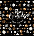 merry christmas greeting card with shining objects vector image vector image
