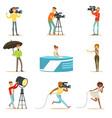 news program crew of professional cameramen and vector image vector image