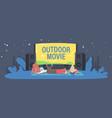 open air cinema at house backyard or city park vector image vector image