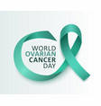 ovarian cancer awareness with teal ribbon vector image vector image