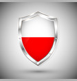 poland flag on metal shiny shield collection of vector image