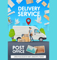 post mail delivery post office courier shipping vector image