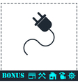 Power cord icon flat vector image vector image