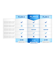 Pricing List with 3 Versions Comparision vector image