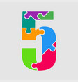 puzzle jigsaw figure or number five vector image vector image