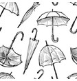 seamless background of the umbrellas sketches vector image vector image