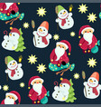 seamless christmas pattern in graphic with cute vector image