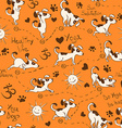 Seamless pattern with dog doing yoga position of