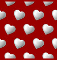 seamless pattern with volume hearts isolated on vector image vector image