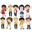 set happy children in different actions vector image vector image