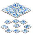 set of floor tile with ornament blue color in the vector image vector image