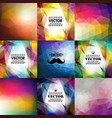 set of nine colorful abstract geometric background vector image