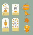 set of thanksgiving backgrounds badgestags vector image vector image