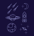 set outline space icon planet spaceship vector image vector image