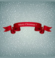 snowflakes in the gray sky and red ribbon vector image vector image