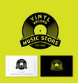 vinyl record with ribbon logo vintage music vector image vector image