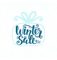 winter sale unique banner inscription in gift box vector image vector image