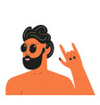 with man in black sunglasses showing rock sign vector image vector image