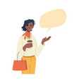 woman showing on empty speech bubble info chat box vector image vector image