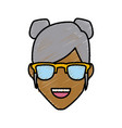 woman with sunglasses smiling vector image