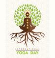 yoga day card buddha tree in lotus pose vector image vector image