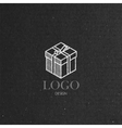 with isometric gift box on cardboard texture Logo vector image