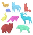 Animals low poly Origami paper animals wolf bear vector image vector image