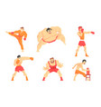 asian martial arts fighters set male professional vector image